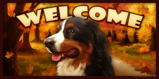 Bernese Mountain Dog 2_Autumn Welcome sign 2