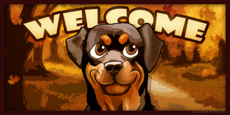 Rottweiler_Autumn Welcome sign 2 Toon