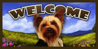 Yorkie_Spring Welcome sign